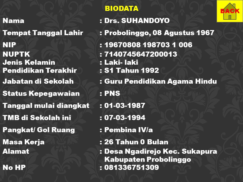 BIODATA Nama: Drs. SUHANDOYO Tempat Tanggal Lahir: Probolinggo, 08 Agustus 1967 NIP: 19670808 198703 1 006 NUPTK: 7140745647200013 Jenis Kelamin : Lak