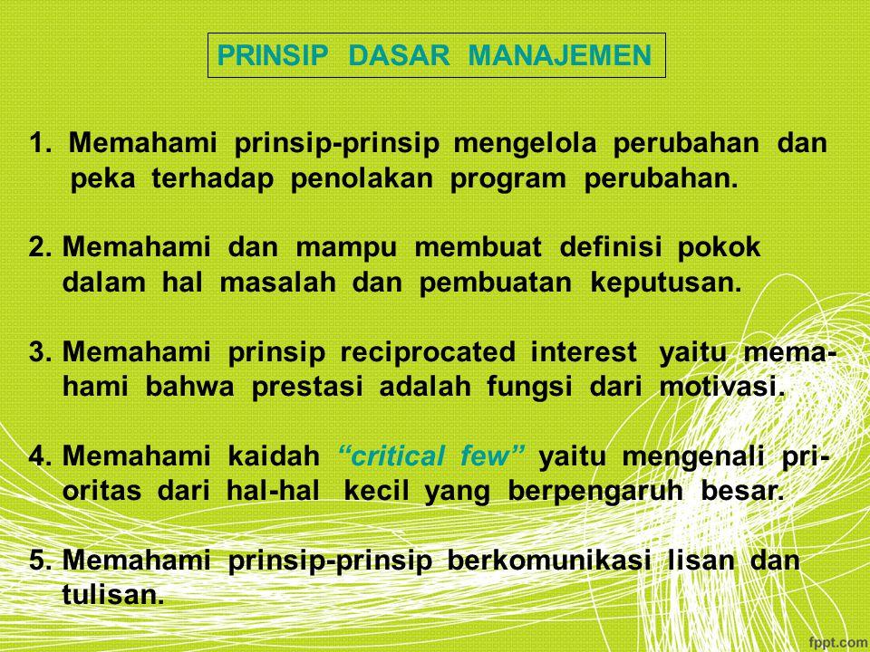 PRINSIP DASAR MANAJEMEN 1. Memahami prinsip-prinsip mengelola perubahan dan peka terhadap penolakan program perubahan. 2.Memahami dan mampu membuat de