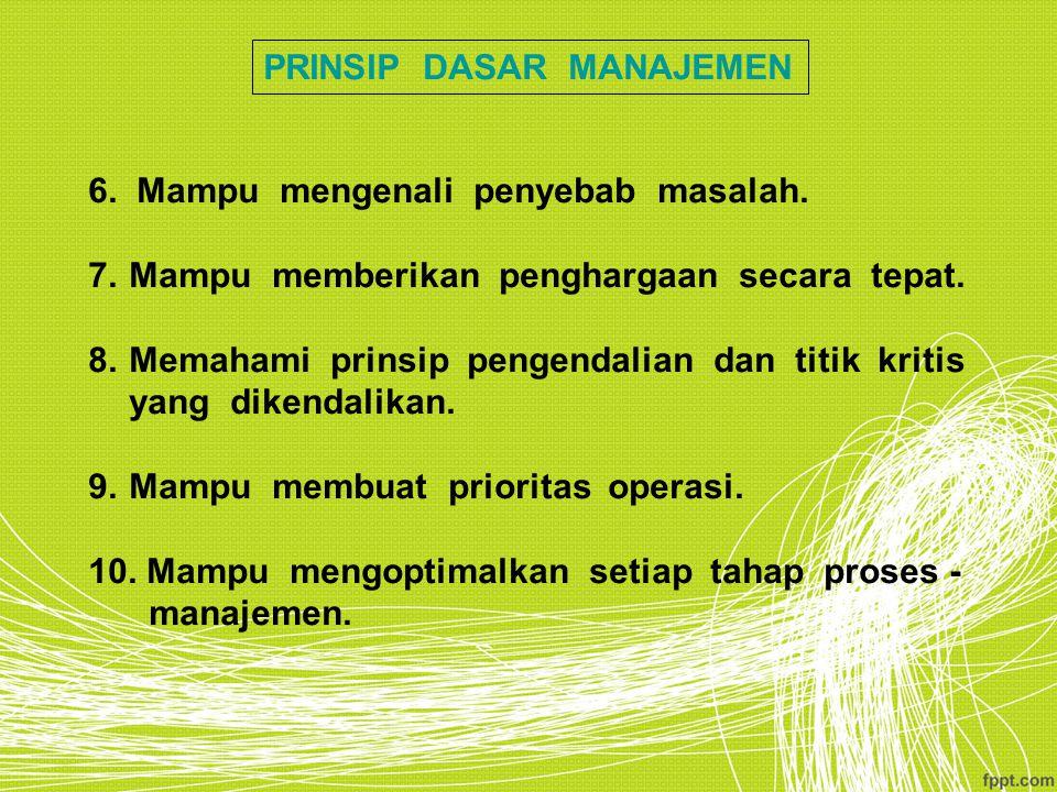 PRINSIP DASAR MANAJEMEN 6. Mampu mengenali penyebab masalah. 7.Mampu memberikan penghargaan secara tepat. 8.Memahami prinsip pengendalian dan titik kr