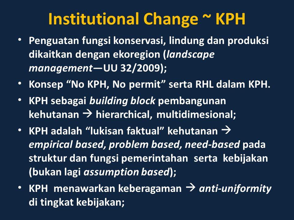 """Institutional Change ~ KPH Penguatan fungsi konservasi, lindung dan produksi dikaitkan dengan ekoregion (landscape management—UU 32/2009); Konsep """"No"""