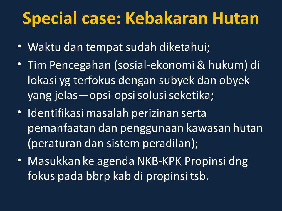 Special case: Kebakaran Hutan Waktu dan tempat sudah diketahui; Tim Pencegahan (sosial-ekonomi & hukum) di lokasi yg terfokus dengan subyek dan obyek