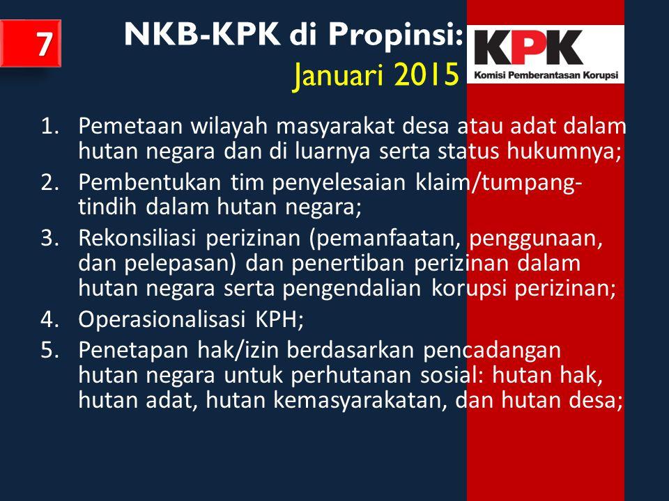 NKB-KPK di Propinsi: Januari 2015 1.Pemetaan wilayah masyarakat desa atau adat dalam hutan negara dan di luarnya serta status hukumnya; 2.Pembentukan