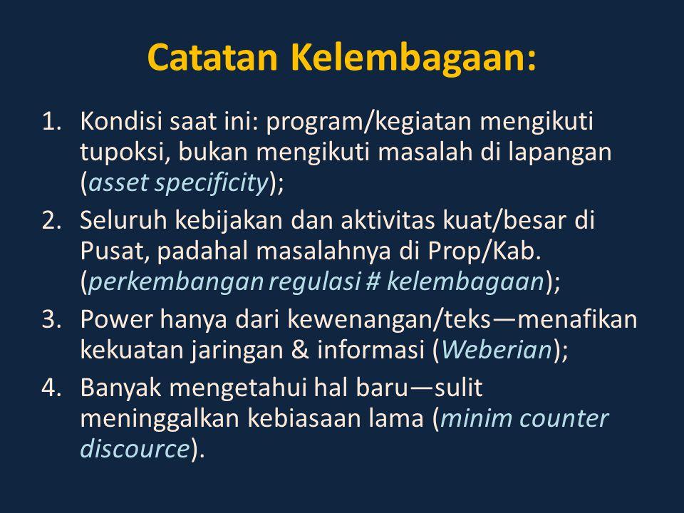 Catatan Kelembagaan: 1.Kondisi saat ini: program/kegiatan mengikuti tupoksi, bukan mengikuti masalah di lapangan (asset specificity); 2.Seluruh kebija