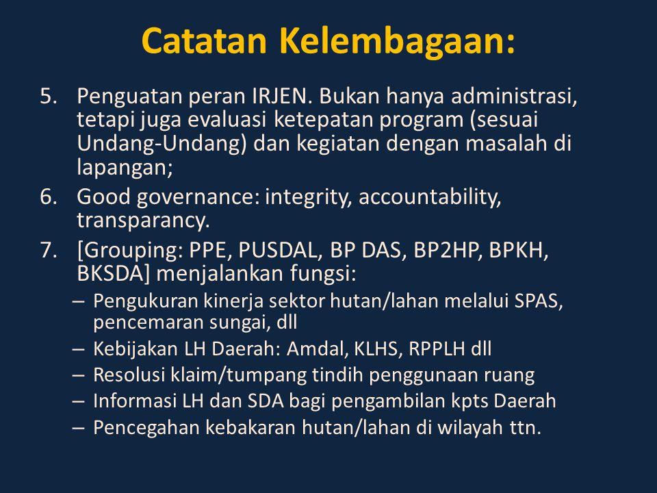 Catatan Kelembagaan: 5.Penguatan peran IRJEN. Bukan hanya administrasi, tetapi juga evaluasi ketepatan program (sesuai Undang-Undang) dan kegiatan den