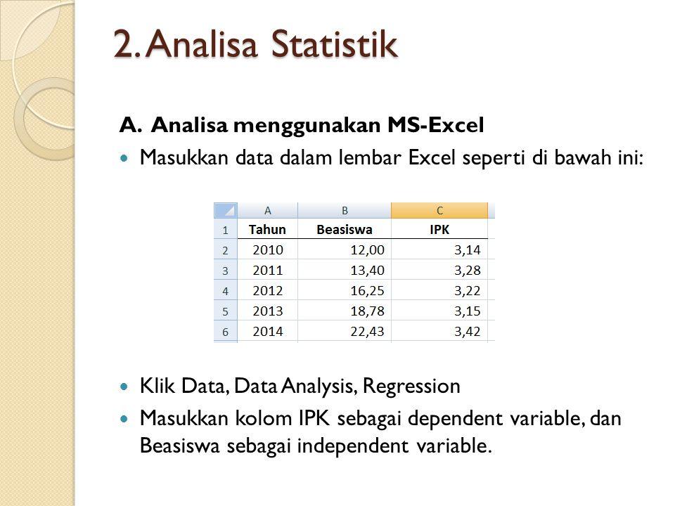 2. Analisa Statistik A.