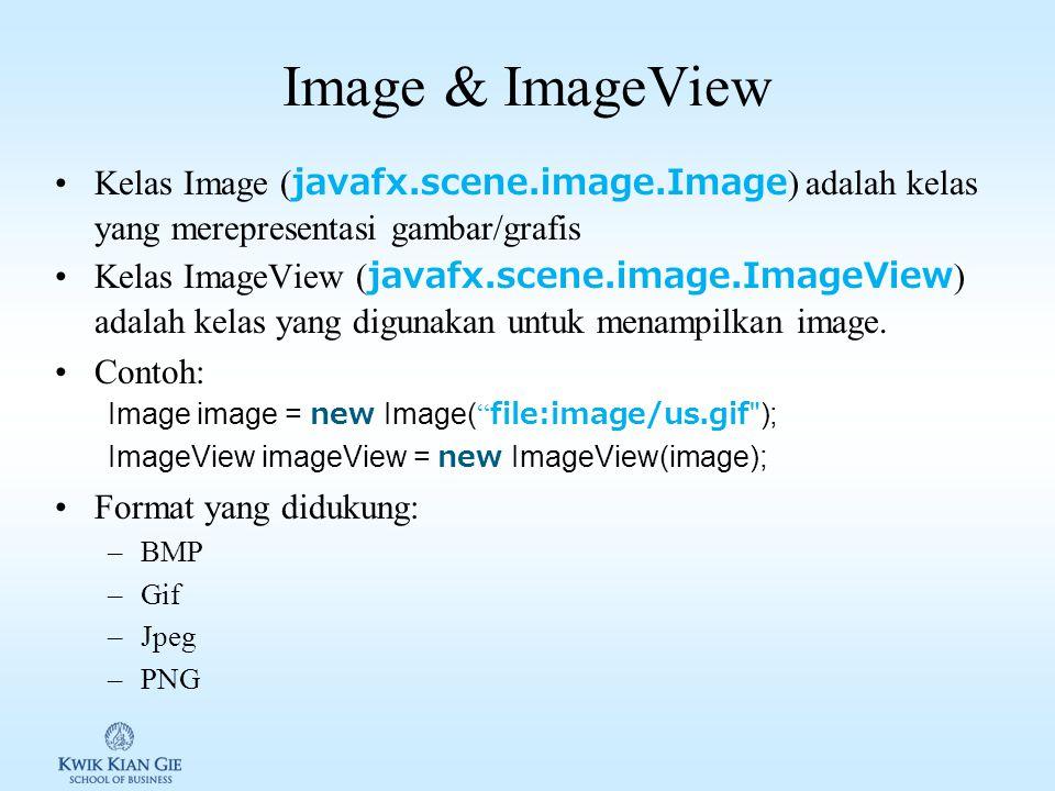 Kelas Font javafx.scene.text.Font digunakan untuk membuat object font. Object Font dapat dibuat melalui constructor atau menggunakan method static Con