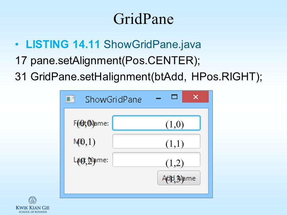 FlowPane LISTING 14.10 ShowFlowPane.java 13 FlowPane pane = new FlowPane(); 14 pane.setPadding(new Insets(11, 12, 13, 14)); 15 pane.setHgap(5); 16 pan
