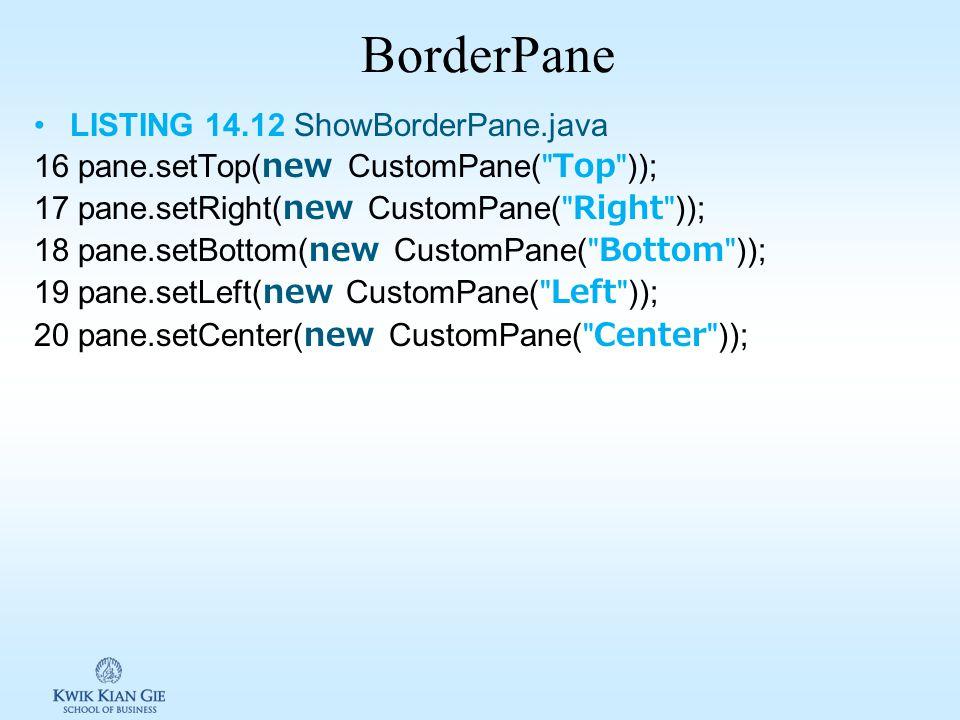 GridPane (0,0) (1,0) (0,1) (1,1) (0,2) (1,2) (1,3) LISTING 14.11 ShowGridPane.java 17 pane.setAlignment(Pos.CENTER); 31 GridPane.setHalignment(btAdd,