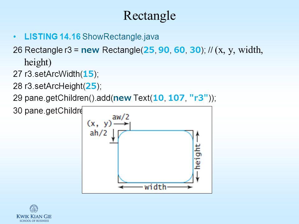 Line LISTING 14.15 ShowLine.java 21 Line line1 = new Line(10, 10, 10, 10); // (startx, starty, endx, endy) 22 line1.endXProperty().bind(widthProperty(