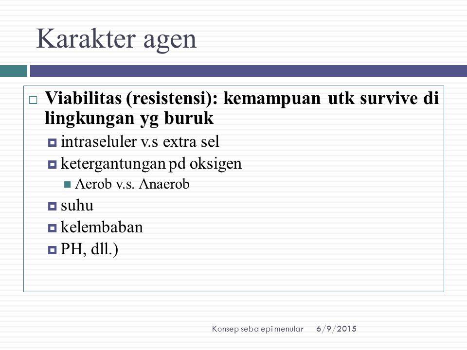 6/9/2015Konsep seba epi menular Karakter agen  Viabilitas (resistensi): kemampuan utk survive di lingkungan yg buruk  intraseluler v.s extra sel  k