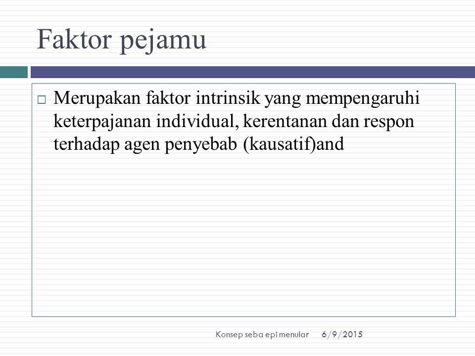 6/9/2015Konsep seba epi menular Faktor pejamu  Merupakan faktor intrinsik yang mempengaruhi keterpajanan individual, kerentanan dan respon terhadap a