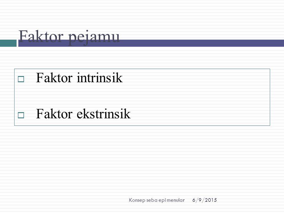 6/9/2015Konsep seba epi menular Faktor pejamu  Faktor intrinsik  Faktor ekstrinsik