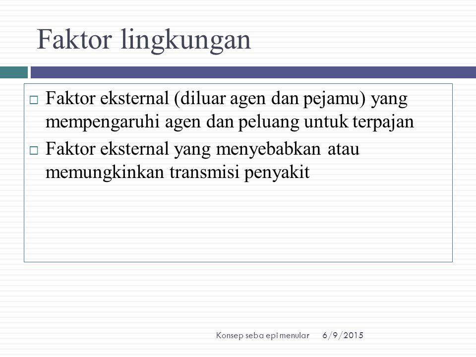 6/9/2015Konsep seba epi menular Faktor lingkungan  Faktor eksternal (diluar agen dan pejamu) yang mempengaruhi agen dan peluang untuk terpajan  Fakt