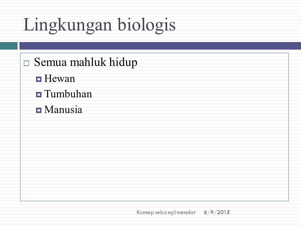 6/9/2015Konsep seba epi menular Lingkungan biologis  Semua mahluk hidup  Hewan  Tumbuhan  Manusia