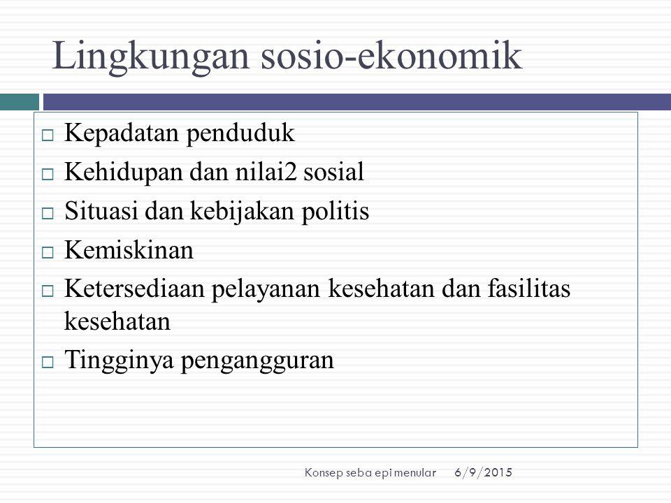 6/9/2015Konsep seba epi menular Lingkungan sosio-ekonomik  Kepadatan penduduk  Kehidupan dan nilai2 sosial  Situasi dan kebijakan politis  Kemiski