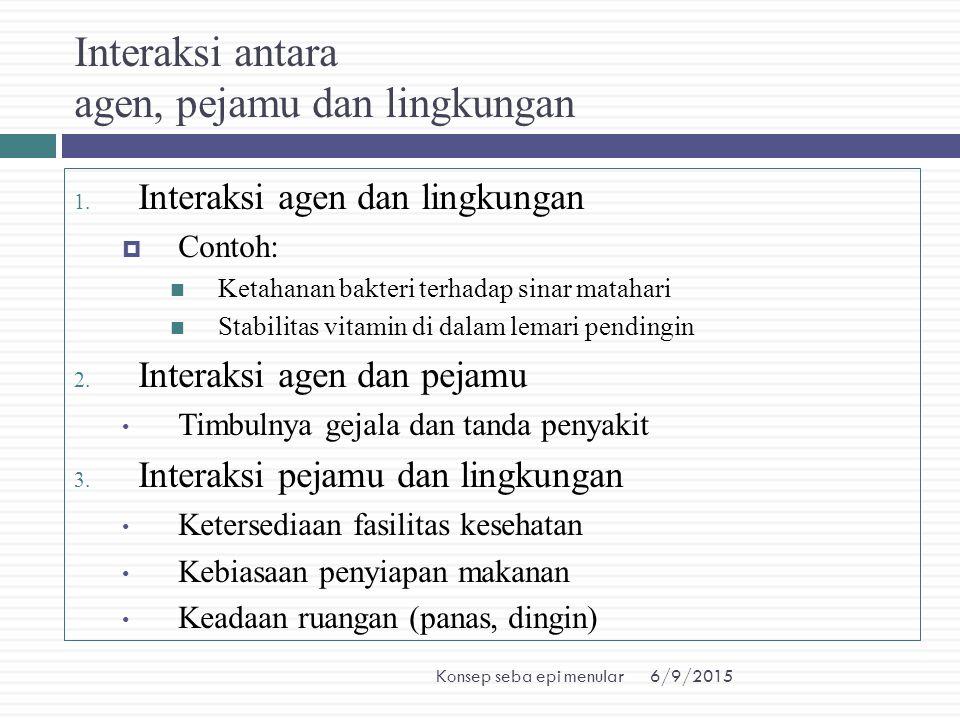 6/9/2015Konsep seba epi menular Interaksi antara agen, pejamu dan lingkungan 1. Interaksi agen dan lingkungan  Contoh: Ketahanan bakteri terhadap sin