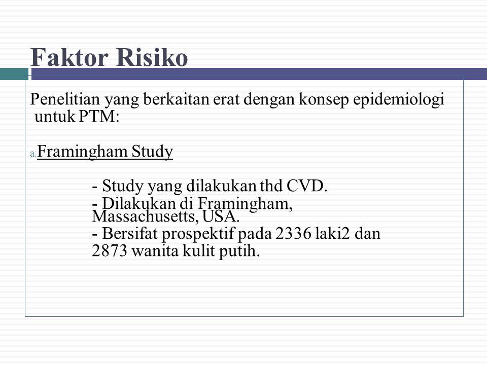 Faktor Risiko Penelitian yang berkaitan erat dengan konsep epidemiologi untuk PTM: a. Framingham Study - Study yang dilakukan thd CVD. - Dilakukan di
