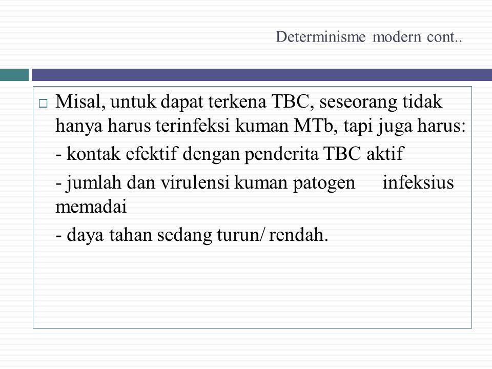 Determinisme modern cont..  Misal, untuk dapat terkena TBC, seseorang tidak hanya harus terinfeksi kuman MTb, tapi juga harus: - kontak efektif denga