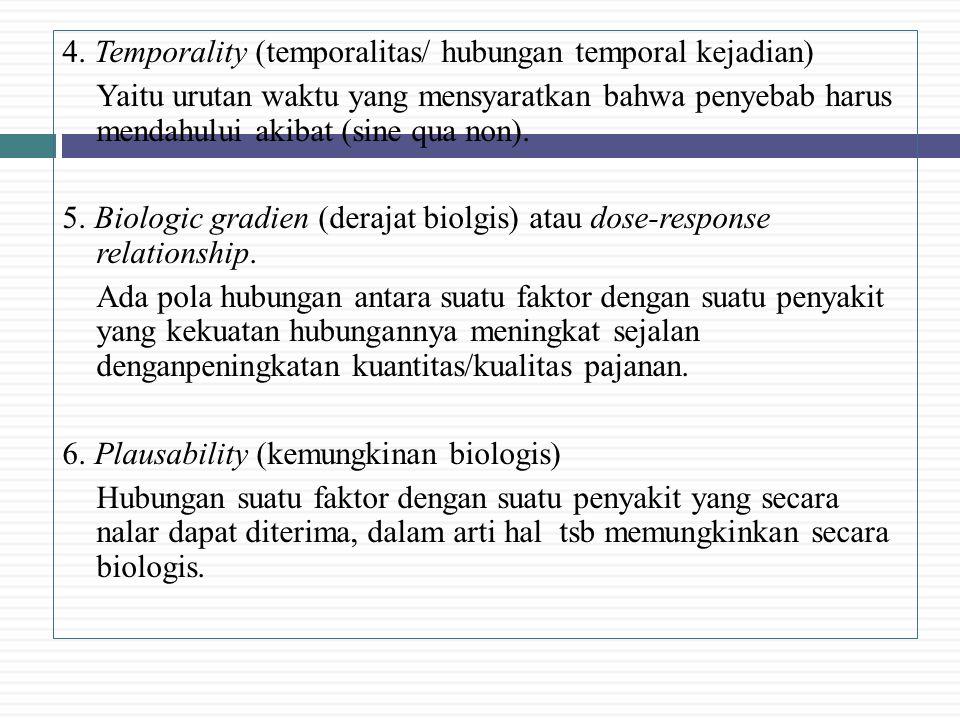 4. Temporality (temporalitas/ hubungan temporal kejadian) Yaitu urutan waktu yang mensyaratkan bahwa penyebab harus mendahului akibat (sine qua non).