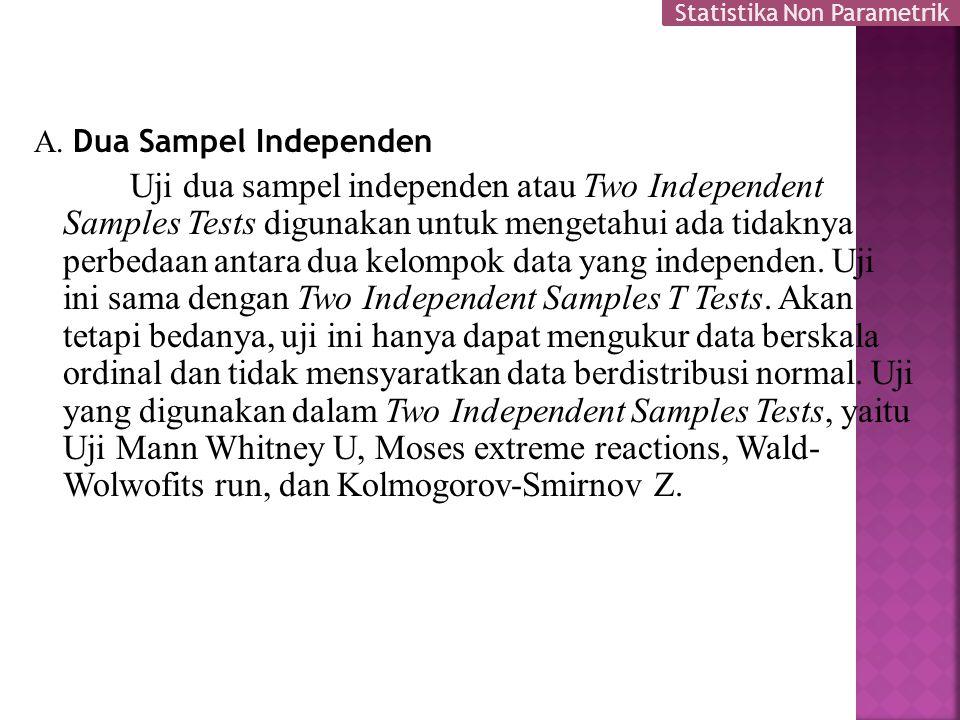 A. Dua Sampel Independen Uji dua sampel independen atau Two Independent Samples Tests digunakan untuk mengetahui ada tidaknya perbedaan antara dua kel