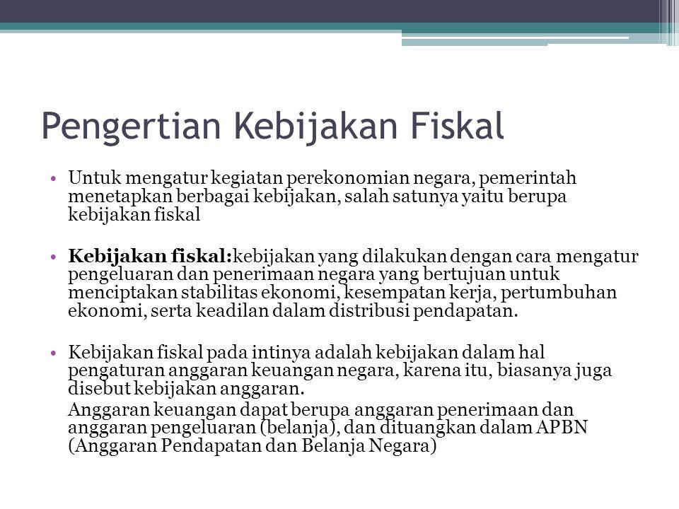Untuk mengatur kegiatan perekonomian negara, pemerintah menetapkan berbagai kebijakan, salah satunya yaitu berupa kebijakan fiskal Kebijakan fiskal:ke