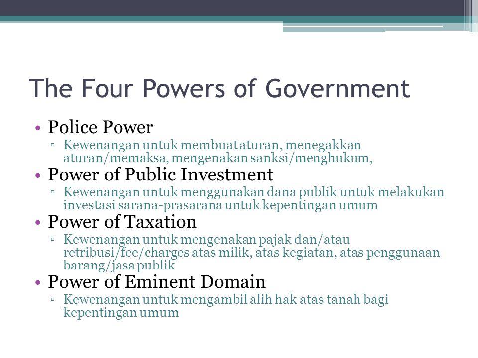The Four Powers of Government Police Power ▫Kewenangan untuk membuat aturan, menegakkan aturan/memaksa, mengenakan sanksi/menghukum, Power of Public I