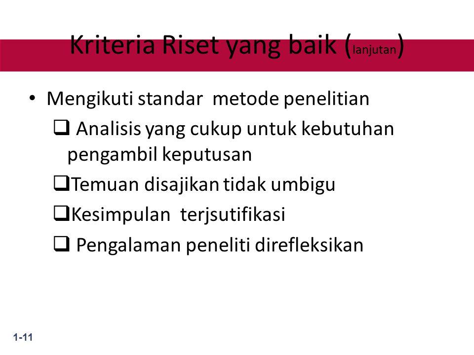 1-11 Kriteria Riset yang baik ( lanjutan ) Mengikuti standar metode penelitian  Analisis yang cukup untuk kebutuhan pengambil keputusan  Temuan disajikan tidak umbigu  Kesimpulan terjsutifikasi  Pengalaman peneliti direfleksikan
