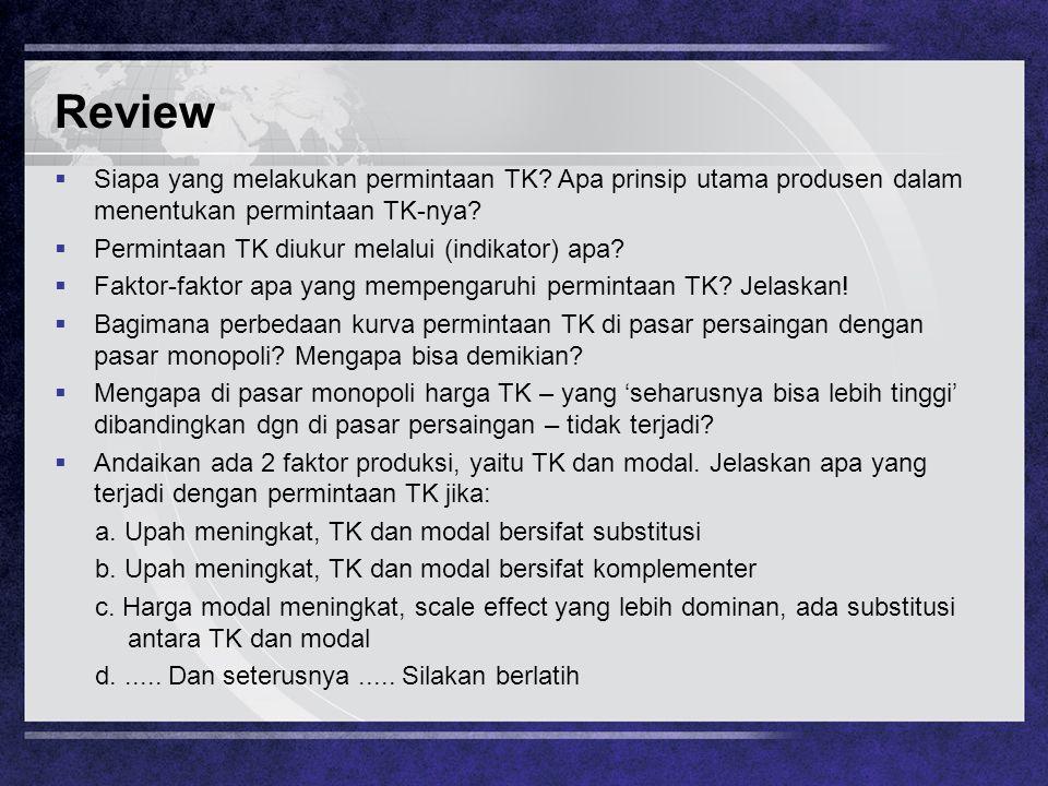 Review  Siapa yang melakukan permintaan TK? Apa prinsip utama produsen dalam menentukan permintaan TK-nya?  Permintaan TK diukur melalui (indikator)