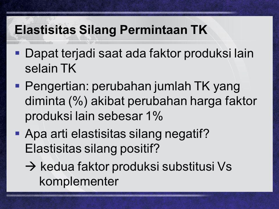 Elastisitas Silang Permintaan TK  Dapat terjadi saat ada faktor produksi lain selain TK  Pengertian: perubahan jumlah TK yang diminta (%) akibat per