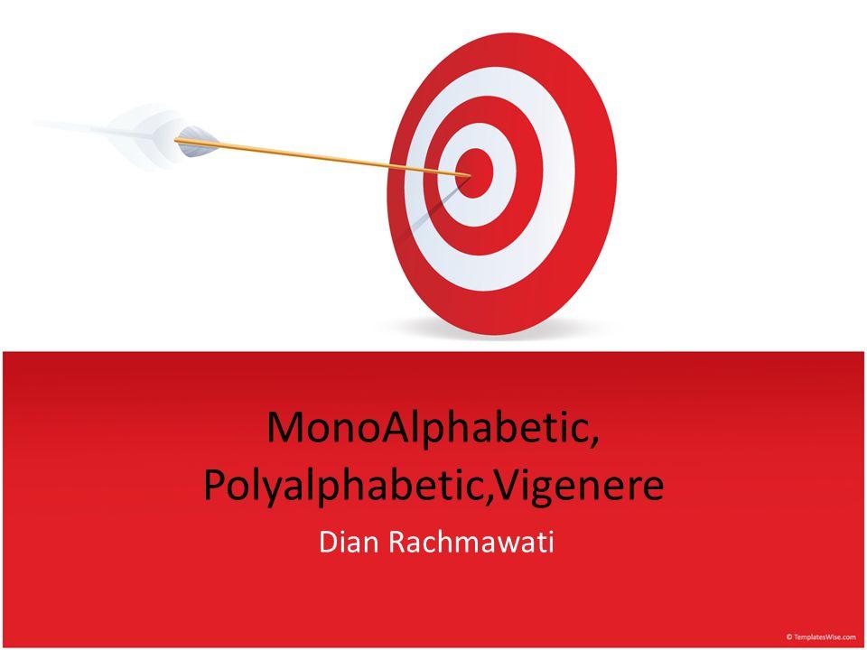 Monoalphabetic Monoalphabetic Cipher (Cipher abjad tunggal) adalah enkripsi metode subtitusi yang memetakan tiap-tiap abjad dengan abjad lain secara random, bukan metode pergeseran seperti Caesar cipher