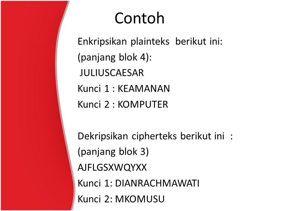 Contoh Enkripsikan plainteks berikut ini: (panjang blok 4): JULIUSCAESAR Kunci 1 : KEAMANAN Kunci 2 : KOMPUTER Dekripsikan cipherteks berikut ini : (panjang blok 3) AJFLGSXWQYXX Kunci 1: DIANRACHMAWATI Kunci 2: MKOMUSU