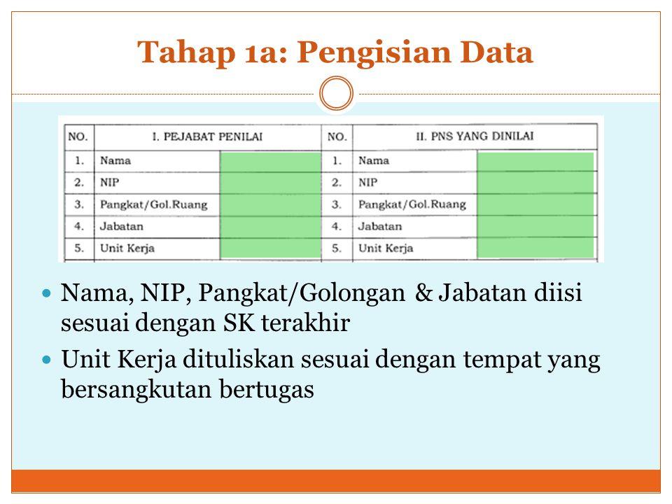 Tahap 1: Penyusunan Kontrak Kerja a. Mengisi data pejabat penilai & PNS yang dinilai b.