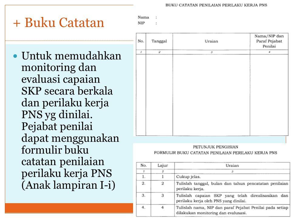 + Buku Catatan Untuk memudahkan monitoring dan evaluasi capaian SKP secara berkala dan perilaku kerja PNS yg dinilai.