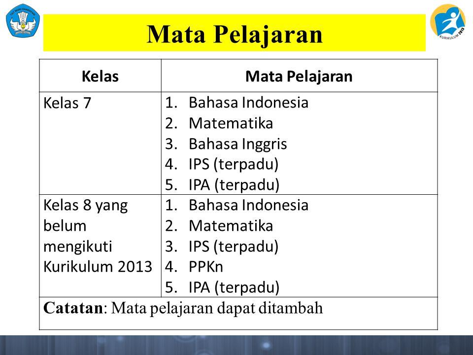 Mata Pelajaran KelasMata Pelajaran Kelas 71.Bahasa Indonesia 2.Matematika 3.Bahasa Inggris 4.IPS (terpadu) 5.IPA (terpadu) Kelas 8 yang belum mengikut