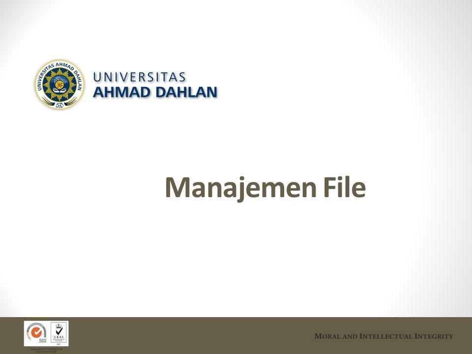 Sasaran & Fungsi Sistem Manajemen File File adalah kumpulan informasi yang berhubungan & tersimpan dalam penyimpan sekunder.