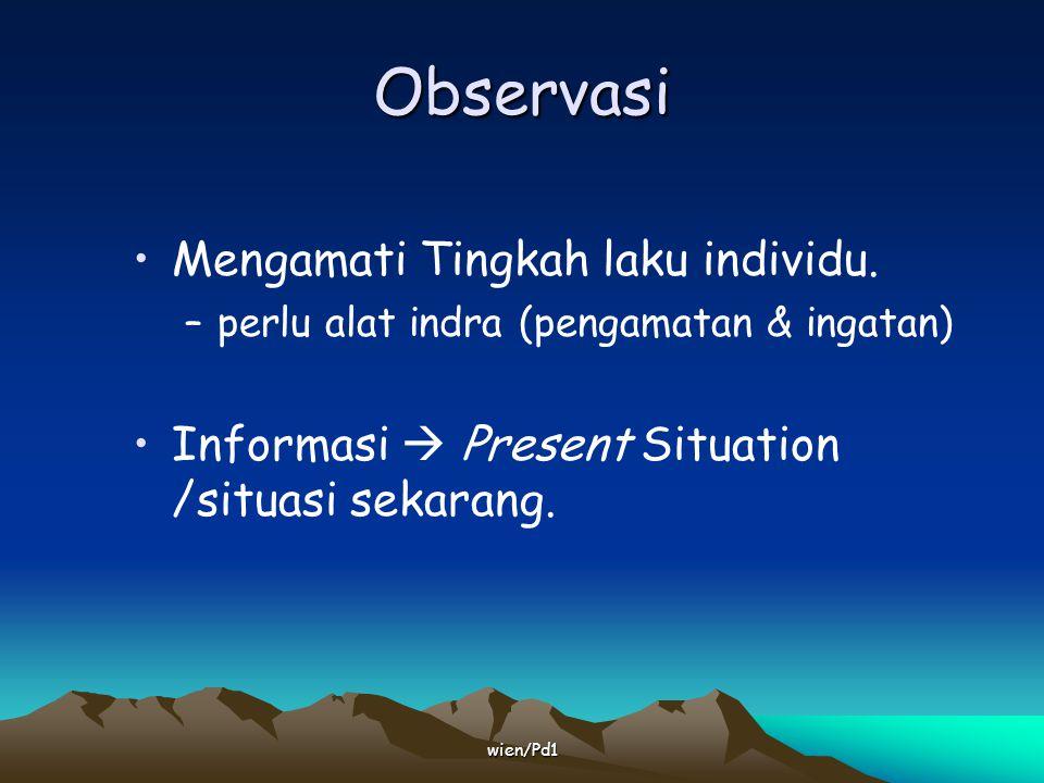 wien/Pd1 Hasil observasi dipengaruhi oleh : Pengamatan Ingatan.