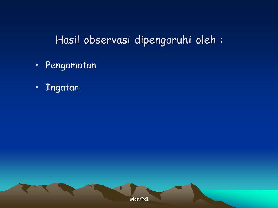 wien/Pd1 Kelemahan dlm observasi Hallo effect Hawthorne effect  T.L diatur shg tdk alamiah, cenderung menampilkan lbh baik.
