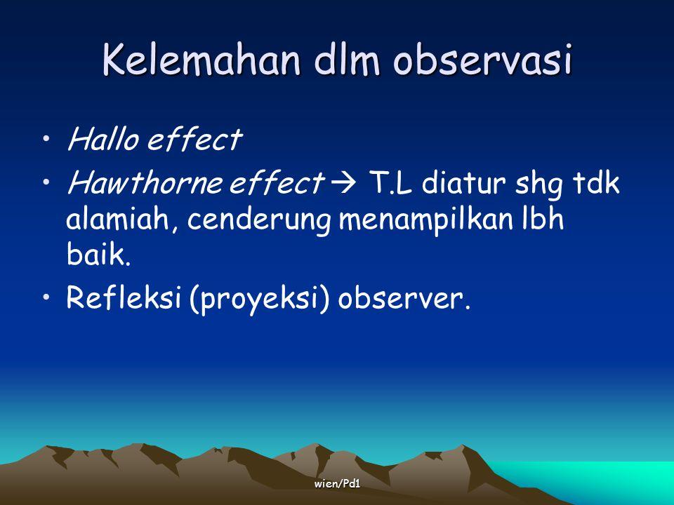 wien/Pd1 Observasi yg sistematis Pertimbangkan: Where  Setting : natural / Simulated / Laboratory.
