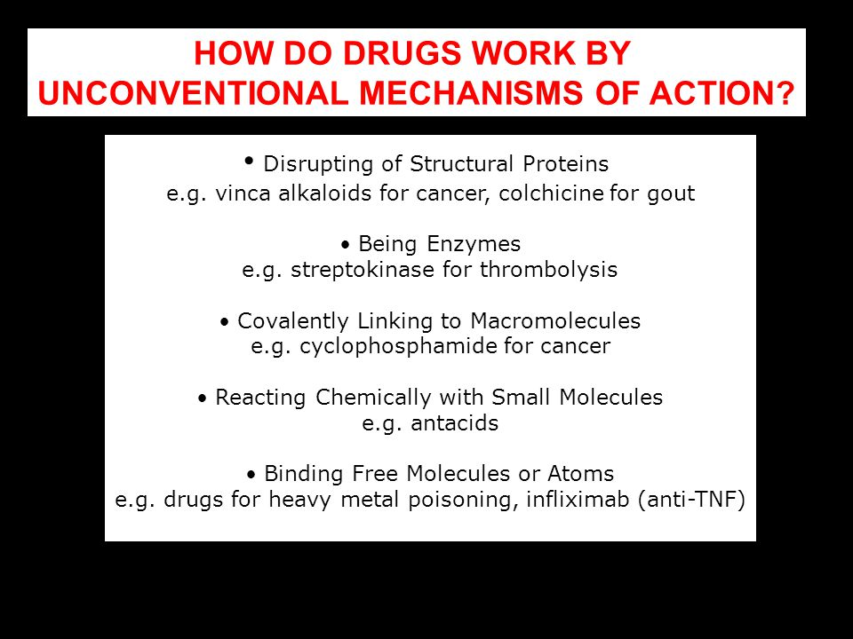 HOW DO DRUGS WORK BY UNCONVENTIONAL MECHANISMS OF ACTION? Disrupting of Structural Proteins e.g. vinca alkaloids for cancer, colchicine for gout Being