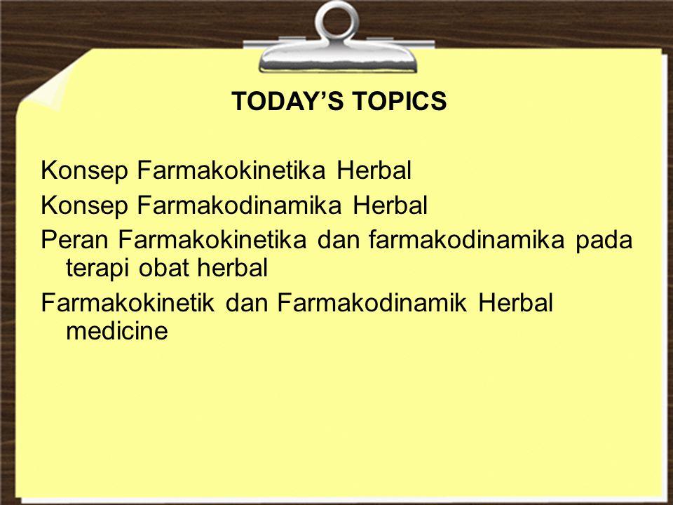 TODAY'S TOPICS Konsep Farmakokinetika Herbal Konsep Farmakodinamika Herbal Peran Farmakokinetika dan farmakodinamika pada terapi obat herbal Farmakoki