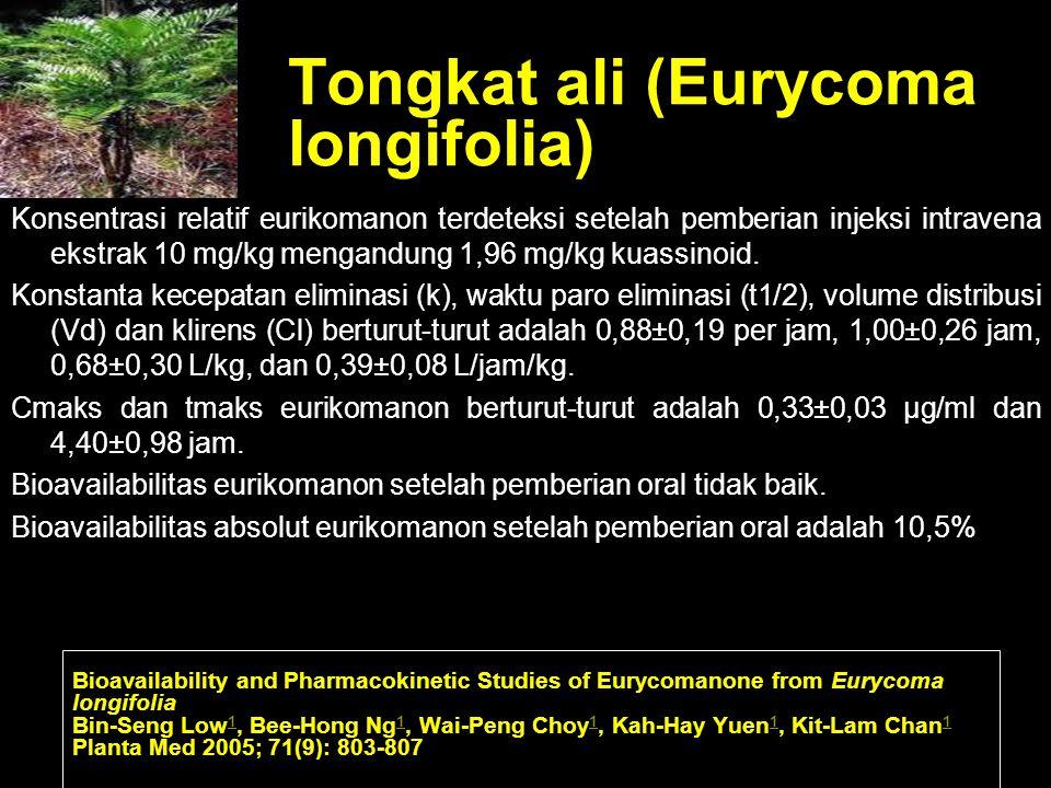 Tongkat ali (Eurycoma longifolia) Konsentrasi relatif eurikomanon terdeteksi setelah pemberian injeksi intravena ekstrak 10 mg/kg mengandung 1,96 mg/k