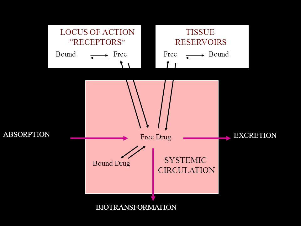 "BoundFree Bound LOCUS OF ACTION ""RECEPTORS "" TISSUE RESERVOIRS SYSTEMIC CIRCULATION Free Drug Bound Drug ABSORPTION EXCRETION BIOTRANSFORMATION"