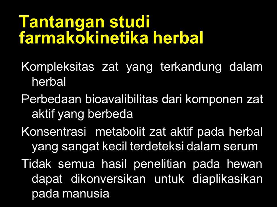 Tantangan studi farmakokinetika herbal Kompleksitas zat yang terkandung dalam herbal Perbedaan bioavalibilitas dari komponen zat aktif yang berbeda Ko