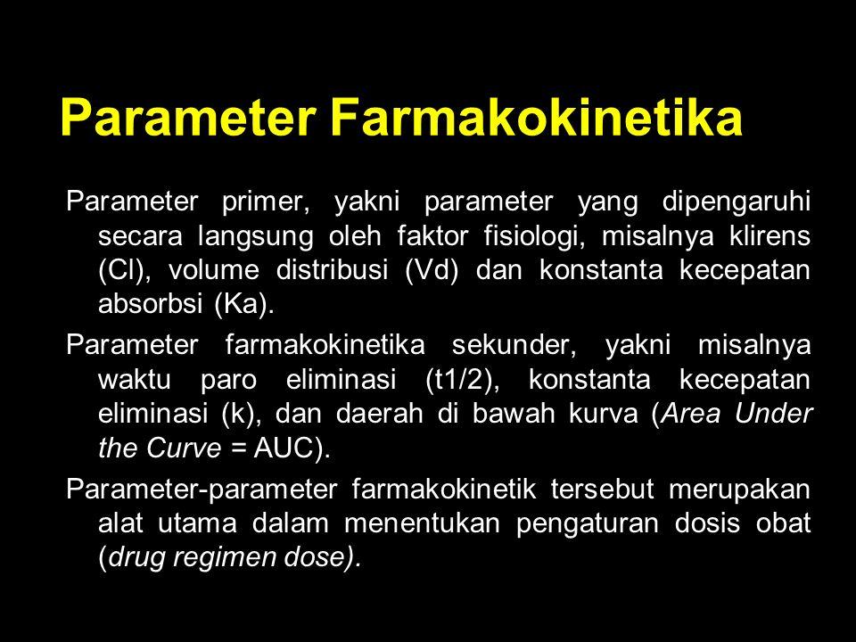 Parameter Farmakokinetika Parameter primer, yakni parameter yang dipengaruhi secara langsung oleh faktor fisiologi, misalnya klirens (Cl), volume dist