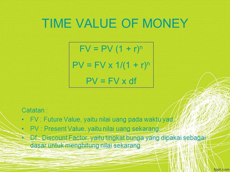 TIME VALUE OF MONEY Catatan : FV : Future Value, yaitu nilai uang pada waktu yad. PV : Present Value, yaitu nilai uang sekarang. Df : Discount Factor,