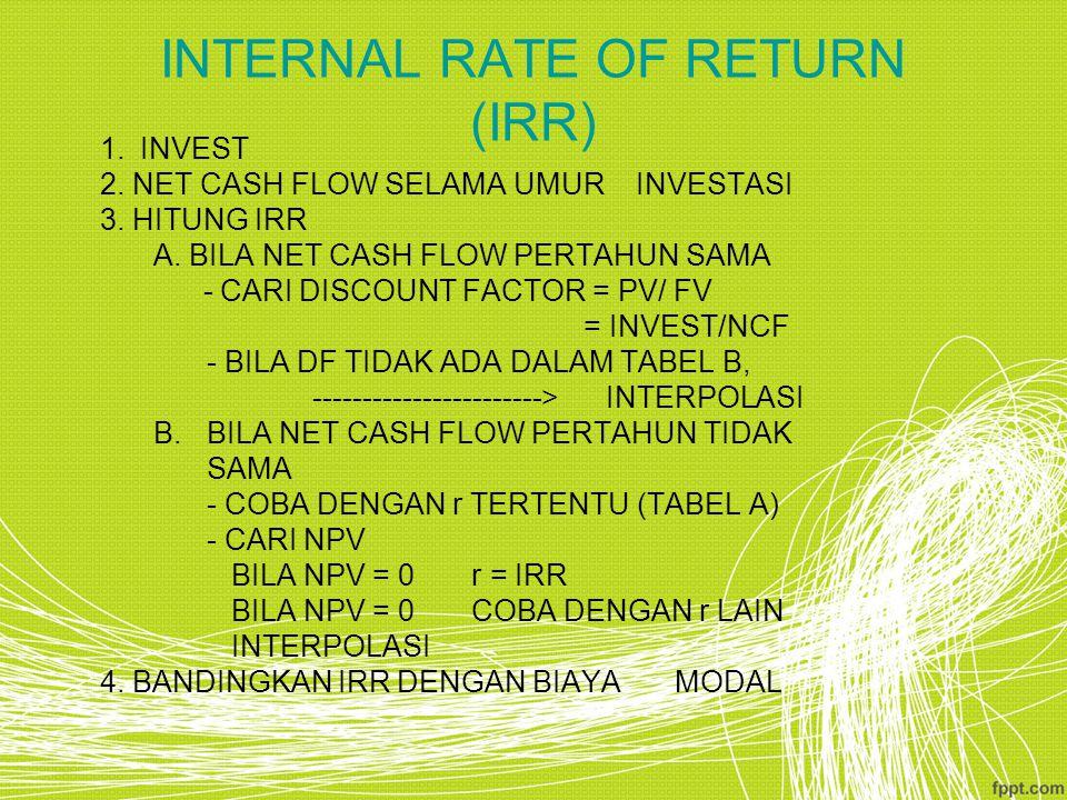 INTERNAL RATE OF RETURN (IRR) 1.INVEST 2. NET CASH FLOW SELAMA UMUR INVESTASI 3. HITUNG IRR A. BILA NET CASH FLOW PERTAHUN SAMA - CARI DISCOUNT FACTOR