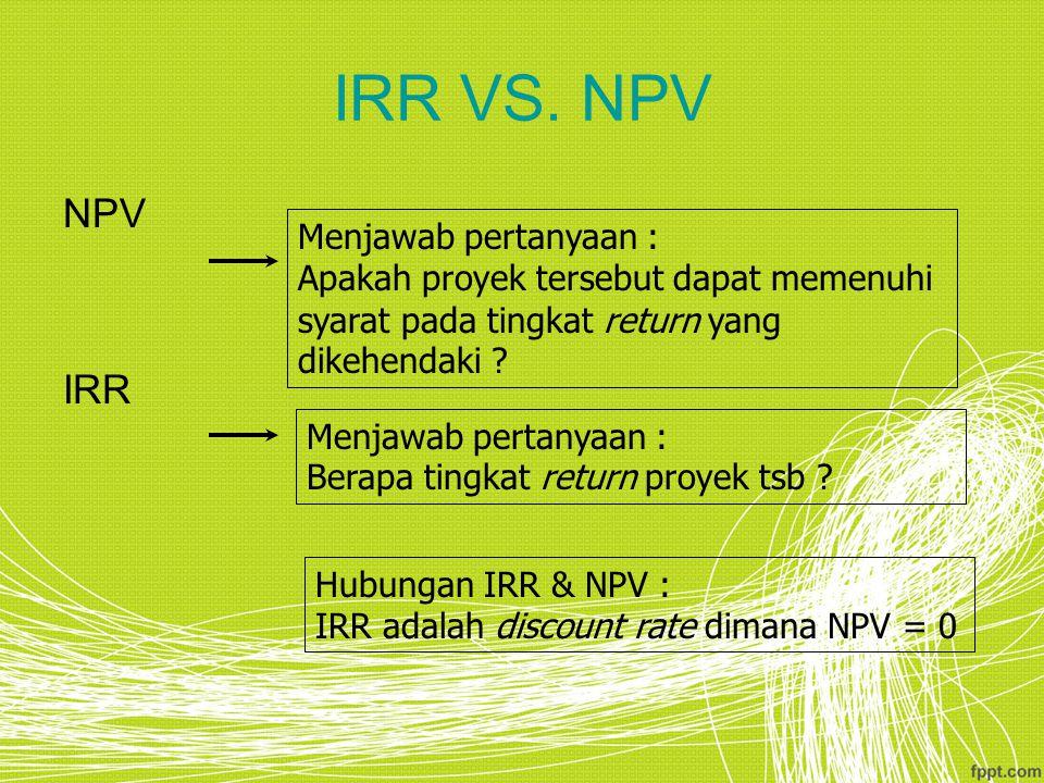 IRR VS. NPV NPV IRR Menjawab pertanyaan : Apakah proyek tersebut dapat memenuhi syarat pada tingkat return yang dikehendaki ? Menjawab pertanyaan : Be