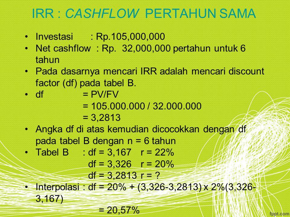 IRR : CASHFLOW PERTAHUN SAMA Investasi : Rp.105,000,000 Net cashflow : Rp. 32,000,000 pertahun untuk 6 tahun Pada dasarnya mencari IRR adalah mencari