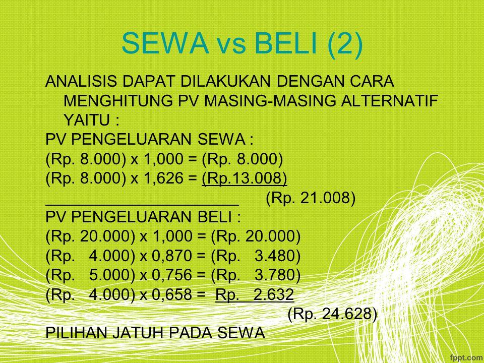 SEWA vs BELI (2) ANALISIS DAPAT DILAKUKAN DENGAN CARA MENGHITUNG PV MASING-MASING ALTERNATIF YAITU : PV PENGELUARAN SEWA : (Rp. 8.000) x 1,000 = (Rp.
