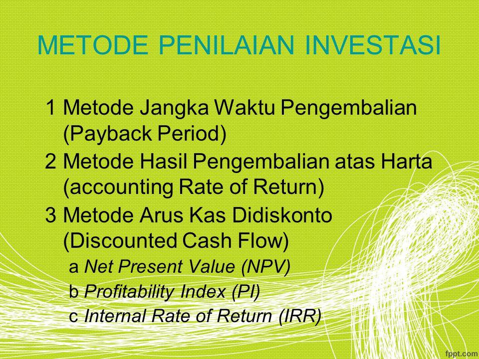 METODE PENILAIAN INVESTASI 1Metode Jangka Waktu Pengembalian (Payback Period) 2Metode Hasil Pengembalian atas Harta (accounting Rate of Return) 3Metod